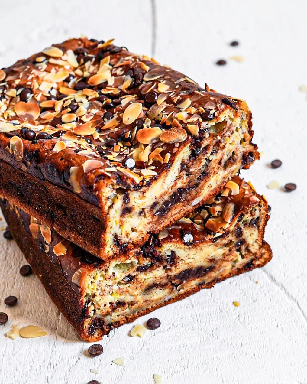 Banana bread moelleux au chocolat sans beurre sans sucre