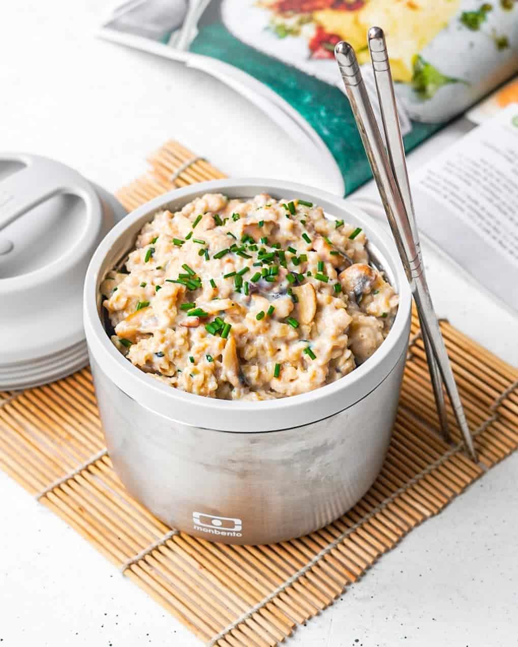 Porridge salé aux champignons à emporter lunchbox bento monbento isotherme